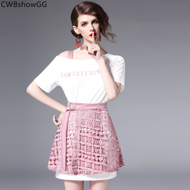 CWBshowGG Small Fragrance Short-sleeved Strapless T-shirt 2019 Spring And Summer Lace Ladies Suit Hollow Out Skirt Two-piece