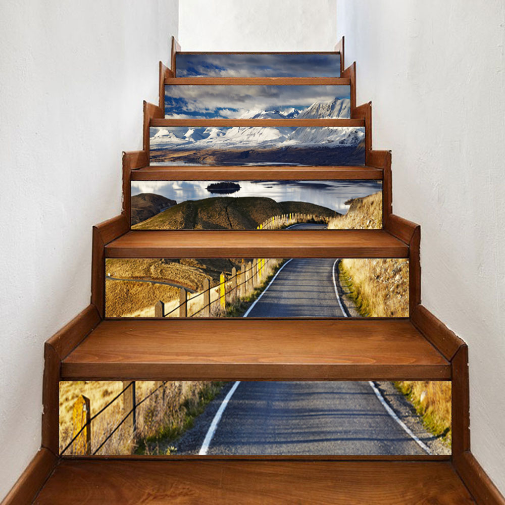 6pcs set highway self adhesive stairs risers stickers mural pvc staircase stickers wallpaper decor