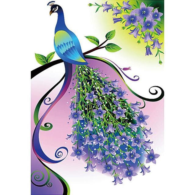 5d diy diamond painting purple peacock pattern wall stickers