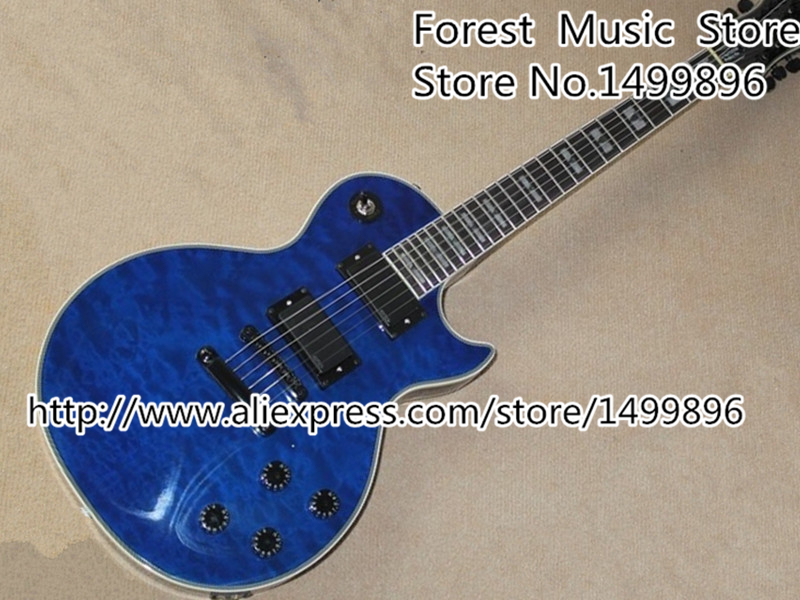 Free Shipping Chinese EMG Style Pickup Blue Quilted Prophecy Custom Plus EX Electric Guitar Left Handed Available free shipping new electric guitar open pickup hy 8311