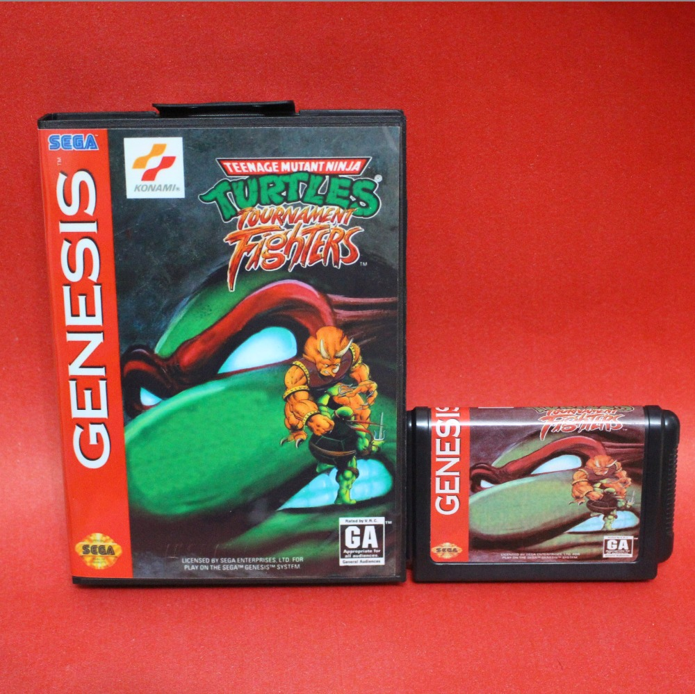 Turtles Tournament Fighters 16 bit MD card with Retail box for Sega MegaDrive Video Game console system