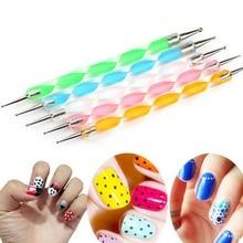 Drawing Design 5 Pcs 2 Ways Nail Art Decorations Nail Tool Dotting Pen Marbleizing Manicure Tools maquiagem Women Beauty Health