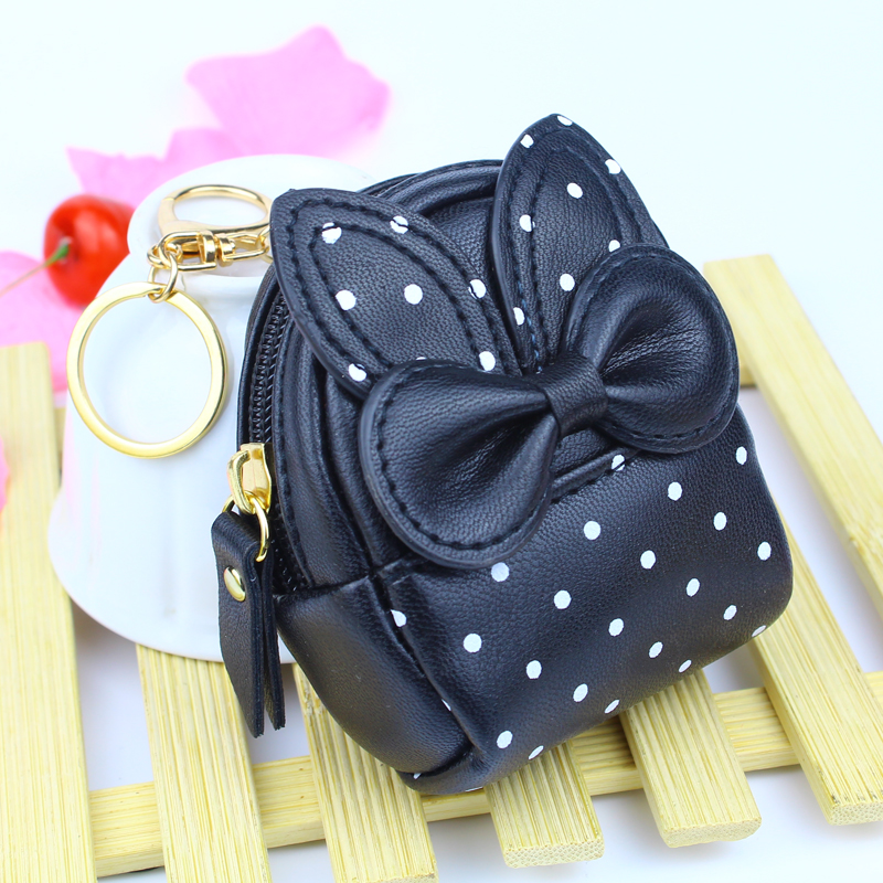 Mini Purse Bag Wallets Lady Zipper Coin Purses ID Cards Keys Money Bags Gold Buckle Woman Bow Keychain Pendants Dot Wallet Pouch cute girl hasp small wallets women coin purses female coin bag lady cotton cloth pouch kids money mini bag children change purse
