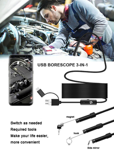Image 2 - 8mm 3 in 1 Endoscope Camera USB Mini Camcorders Waterproof 6 LED Borescope Inspection Cameras Endoscope for Android Smartphone