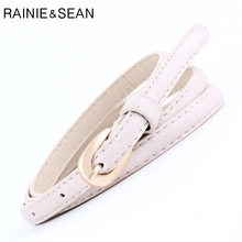RAINIE SEAN Thin Women Belt For Jeans White Leather Pin Buckle Casual 2019 New Brand Female