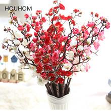Suszone kwiaty 60cm wiśniowe wiosenne śliwkowe brzoskwiniowe kwiaty jedwabne bukiety kwiatowe sztuczne kwiaty do dekoracji ślubnych sztuczne kwiaty tanie tanio Ślub FZ510 Plum blossom Bukiet kwiatów HOUHOM