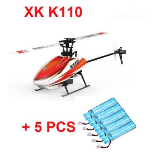 D'origine XK K110 BNF + 5 PCS Supplémentaire Bleu Batterie (sans émetteur) (avec Chargeur) 6CH Brushless 3D 6G Système RC Hélicoptère