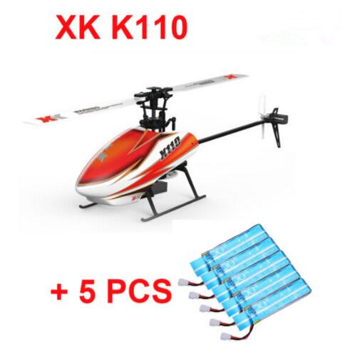 Original XK K110 BNF + 5PCS Extra Blue Battery (without transmitter ) (With Charger ) 6CH Brushless 3D 6G System RC Helicopter original xk k124 bnf without tranmitter ec145 6ch brushless motor 3d 6g system rc helicopter compatible with futaba s fhss