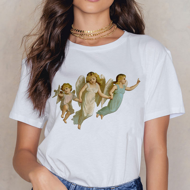 Angel 90s Fashion T Shirt Women Kawaii Print Short Sleeved O-neck T-shirt Vintage Vogue Ullzang Tshirt Harajuku Top Tees Female 19