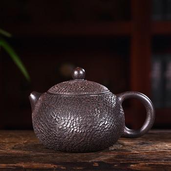 purple clay pot genuine hand-made raw ore black cinnamon mud Black Diamond imitation Tiexishi pot Kungfu Teapot Tea Set