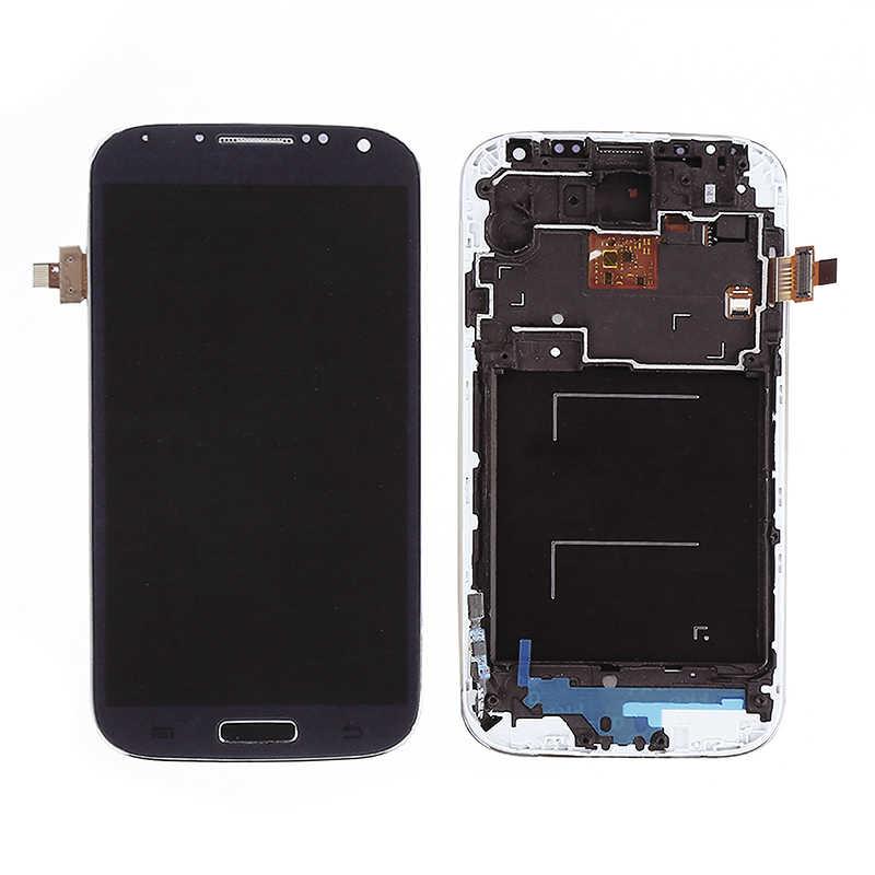 I9505 عرض ل samsung غالاكسي S4 i9505 Lcd تعمل باللمس محول الأرقام ل samsung s4 i9505 lcd شاشة إطار المنزل زر