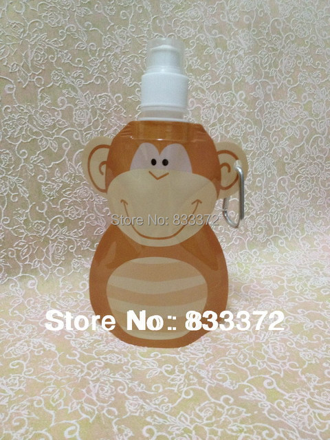 300ml trendy hot selling animalmonkey shape kids foldable water bottle