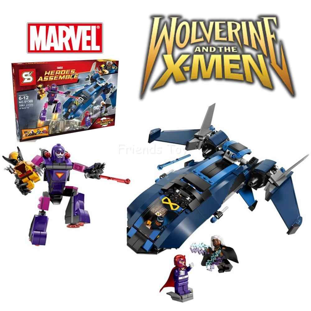 356 pcs X-Men vs The Sentinel Conjunto Vingadores Wolverine Cyclops Magneto Building Block Compatível Com Lego