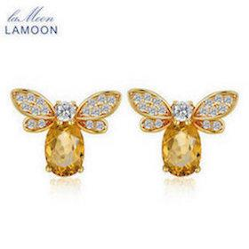 HTB1LINbXvfsK1RjSszbq6AqBXXaF LAMOON Cute Bee 925 Sterling Silver Bracelet Woman love Citrine Gemstones Jewelry 14K Gold Plated Designer Jewellery LMHI002