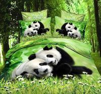 Panda Dieren 3D Gedrukte Beddengoed Set Beddengoed Lakens voor Jongens Volwassenen Slaapkamer Decoratie Geweven Volledige Queen Size 4-5 stks Groen