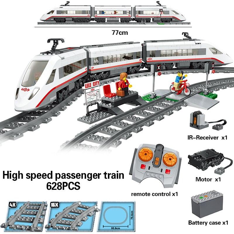 LELE télécommande 628 pièces Legoings Technique des Voyageurs Moteur Train Rail Puissance Créateur Funcation blocs de construction Briques Jouets