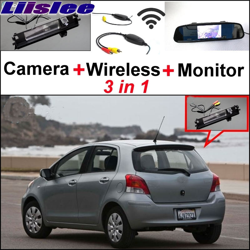 Liislee Special Rear View Camera Wireless Receiver Mirror Monitor Parking System For TOYOTA Yaris Vitz Hatchback MK2 2005~2013 3 in1 special rear view camera wireless receiver mirror monitor parking system for ford ecosport 2013 2015