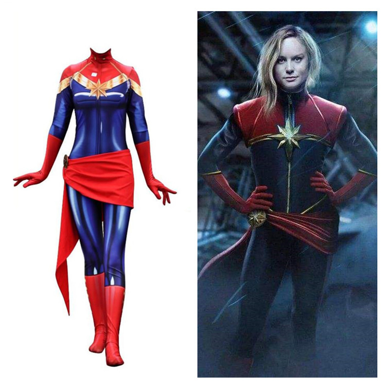 Anime Movie High Quality Captain Marvel Carol Danvers Cosplay Costumes Ms Marvel Women Girls Spandex Jumpsuits Bodysuits Suit
