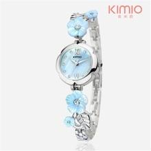 KIMIO marca de relojes 2016 Relojes de Las Mujeres de Flores de Cristal de Acero Inoxidable reloj Pulsera de Cuarzo Reloj Reloj Mujer Montre Femme K483