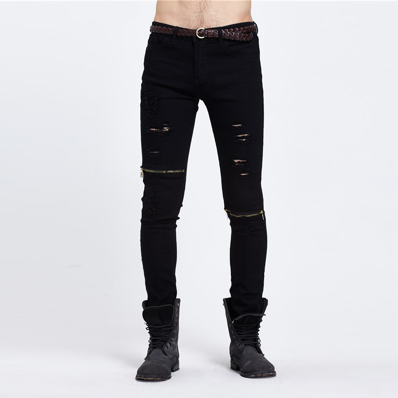 2016 Autumn Motor Jeans Men Fear of God Biker Jeans Cotton Trousers Mens Hip Hop Robin Ripped Jeans Mans Hole Slim Fitness Pants men jeans fear of god ripped blue mens holes leisure straight denim designer mens jeans streetwear clothing pant oversize 28 40