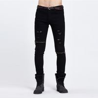 2016 Autumn Motor Jeans Men Fear of God Biker Jeans Cotton Trousers Mens Hip Hop Robin Ripped Jeans Mans Hole Slim Fitness Pants