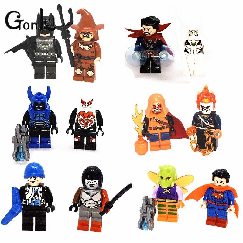 GonLeI 899 Super Heroes Scarecrow Superman Killer Moth Batman Ghost Rider 12pcs/lot Building Blocks Toys for Children