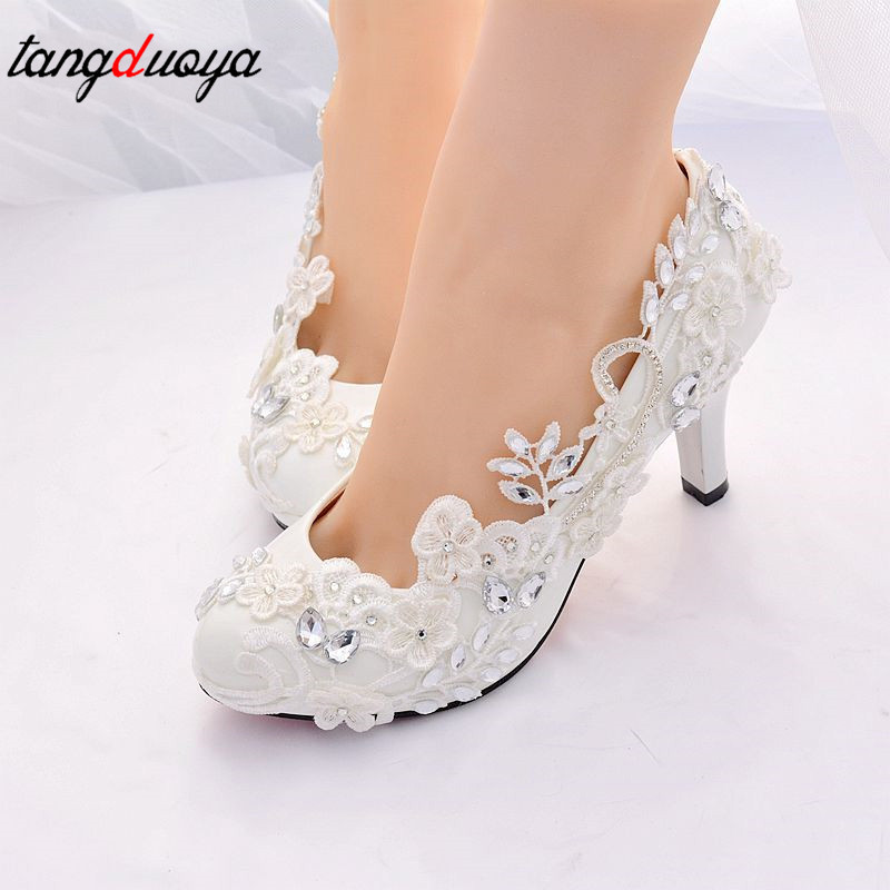 comprar zapatos de boda, novia encaje bombas mujer con tacones altos