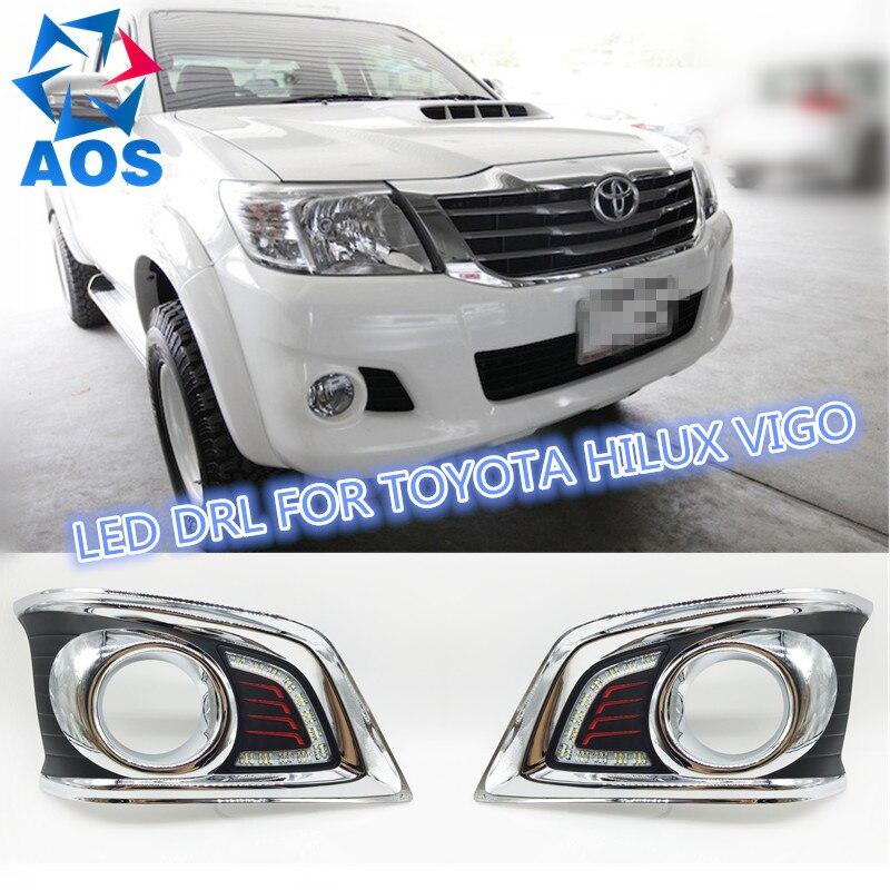 2шт/комплект супер яркий светодиодный дневного света DRL водонепроницаемый дневные ходовые огни для Toyota Hilux Виго 2012 2013 2014 чемпион