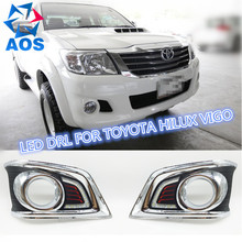 2PCs/set Super Bright LED DRL waterproof Daylight Daytime Running lights For Toyota Hilux VIGO CHAMP 2012 2013 2014