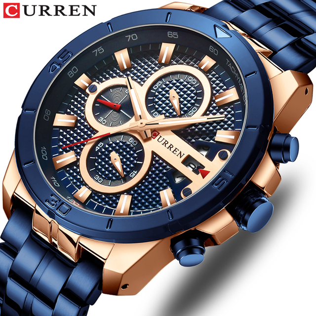 CURREN Men's Luxury Brand Business Steel Casual Waterproof Male Chronograph Auto Date Quartz Watches