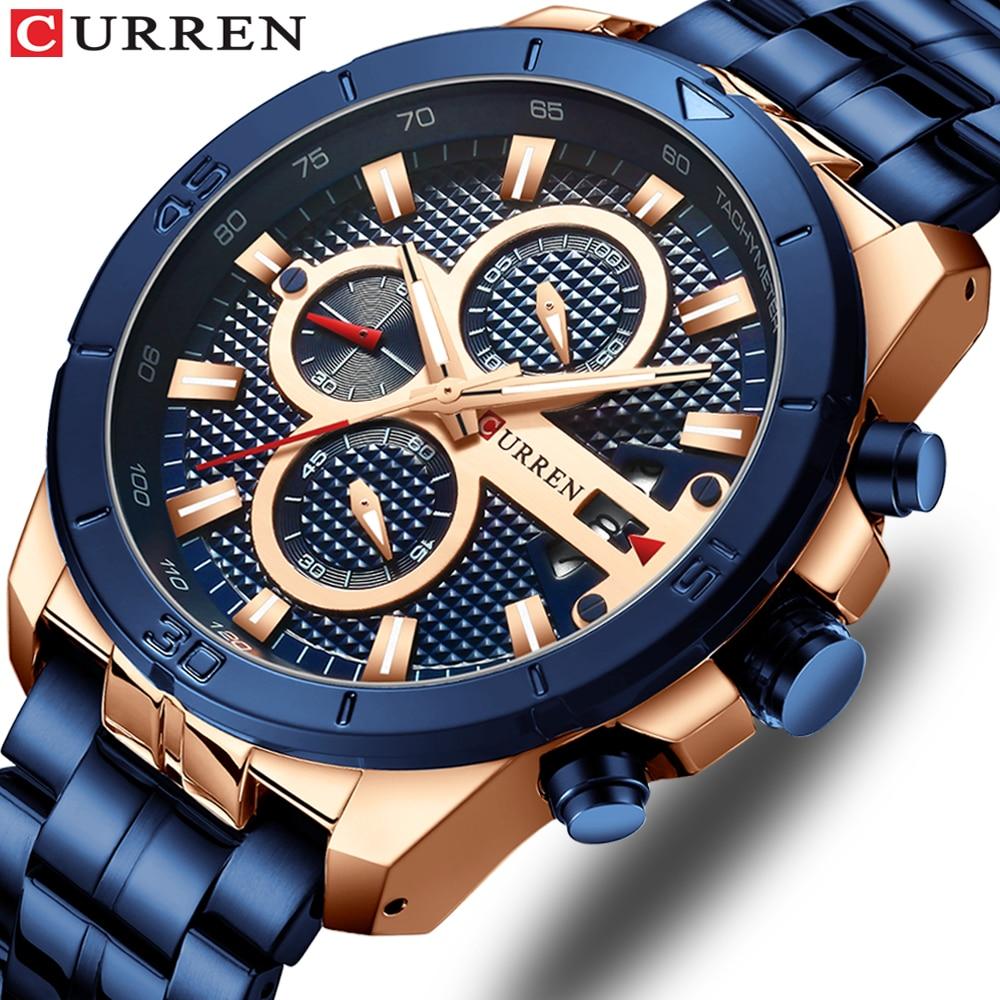 Relogio Masculino CURREN Men Watches To Luxury Brand Business Steel Quartz Watch Casual Waterproof Male Wristwatch Chronograph