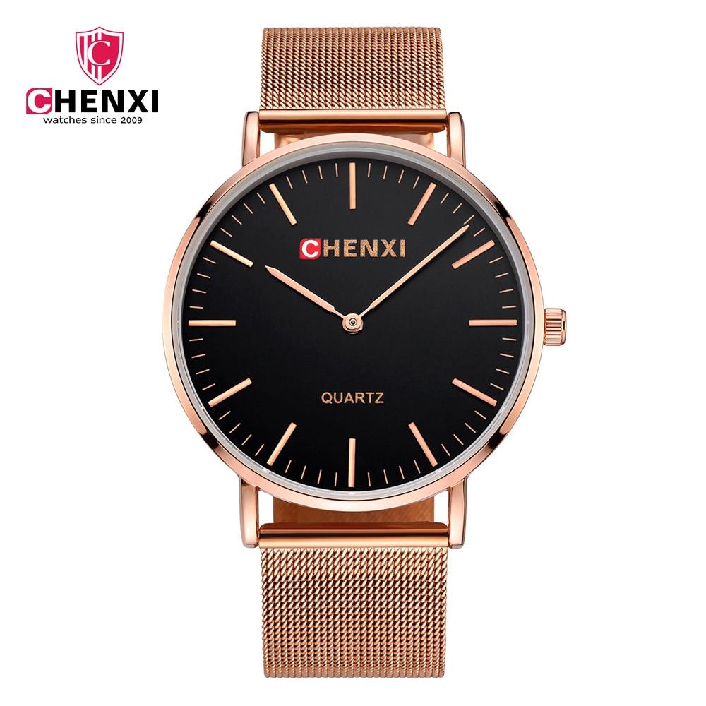 CHENXI para hombre relojes de mujer superior de la marca de lujo de oro  negro reloj de cuarzo con correa de malla Casual amante deporte Masculino e3210fa39bf7