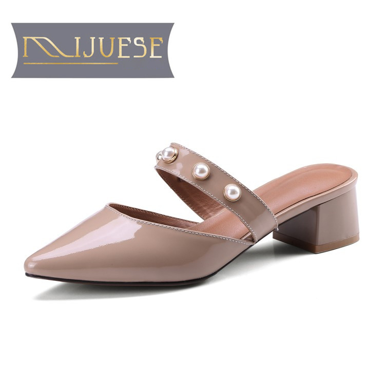 MLJUESE 2018 women slippers summer Genuine leather MaryJanes slip on pointed toe gray color pumps slides sandals women mules