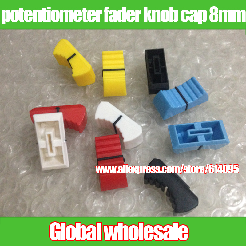 Blue Yellow White Gray Red Black L23.5mm W11.5mm H10.5mm Word Hole Width 8mm Trend Mark 12pcs Mixer Potentiometer Fader Knob Cap