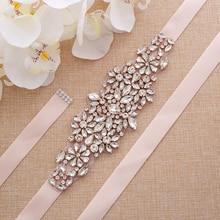 Бусины ручной работы свадебный пояс Стразы пояс невесты розовое золото Кристалл Свадебный Пояс для свадебных вечеринок платья A183RG
