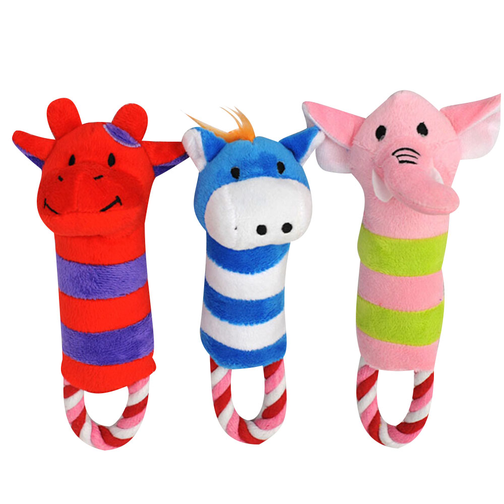 Cute Animal Stripe Pattern Pet Dog Toys Plush Cute Chewing Squeaky Sound Toy Lovely Toy For Dog Tooth Cleaning Pet Dog Supplies