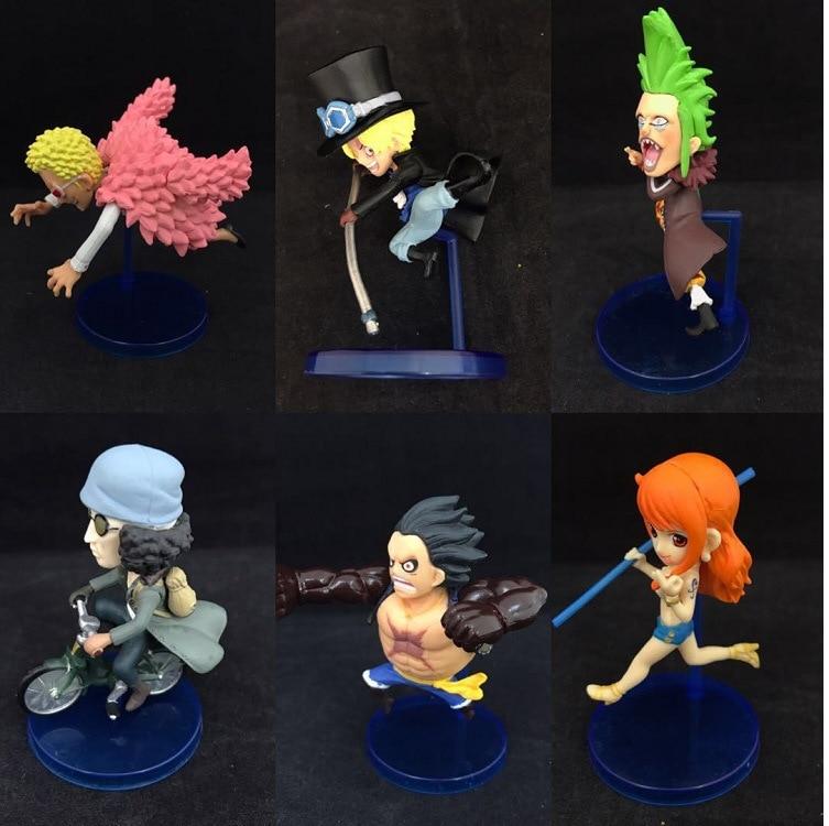 Anime One Piece WCF Running Fifth Luffy Nami Sabo Kuzan Doflamingo Bartolomeo PVC Figures Toys 6pcs/set 8cm