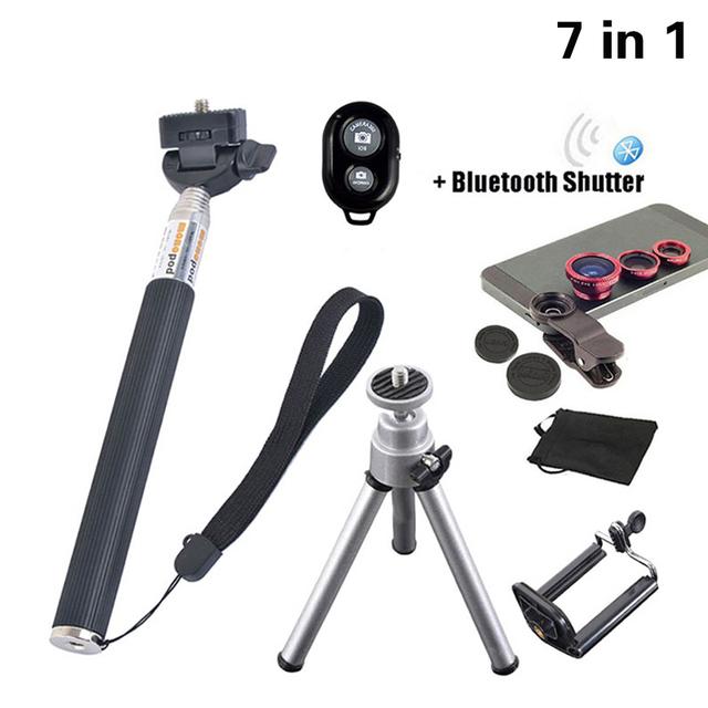 7in1 lente lentes de ojo de pez universal gran angular macro 3in1 clip selfiestick trípode control de bluetooth para huawei xiaomi nota4
