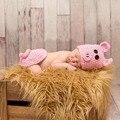 Bebê recém-nascido Menina Porco Cor de Rosa Bonito Chapéu + Conjuntos de Calça Animal Fotografia Props Bebê Crochet Foto Tiro Acessórios fotografia Vestir