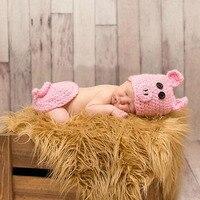 Bebek Kız Sevimli Pembe Domuz Tığ Şapka + Pantolon Fotoğrafçılık Dikmeler Kıyafet Yenidoğan Bebek Hayvan Fotoğraf Çekimi Sahne Aksesuarları Giysileri