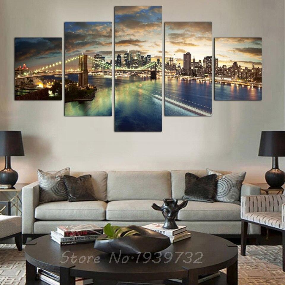 5 kusů HD New York City krajina Malba svatební dekorace pro obývací pokoj Custom Modular Wall Obrázky Direct Selli