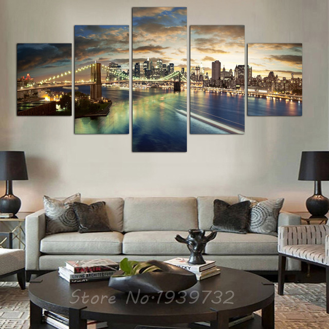 5 Stücke HD New York Stadt Landschaft Leinwand Malerei Hochzeit Dekoration  Für Wohnzimmer Kundenspezifische Modulare Wand
