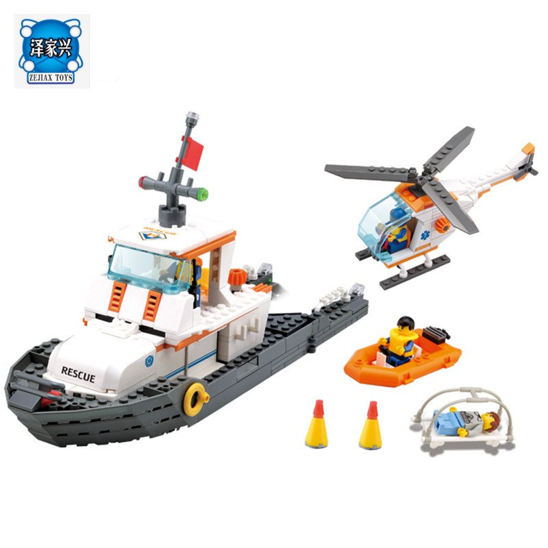 Kazi 85008 433pcs Educational Maritime Rescue Team Building Blocks Bricks Boys Toys Gift Toys for Children Compatible Lepins kazi building blocks toy pirate ship the black pearl construction sets educational bricks toys for children compatible blocks