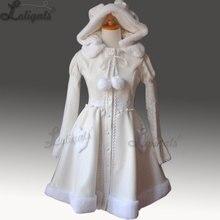 Kawaii женское длинное пальто в стиле Лолиты, зимнее шерстяное пальто с капюшоном и заячьими ушками размера плюс, на заказ