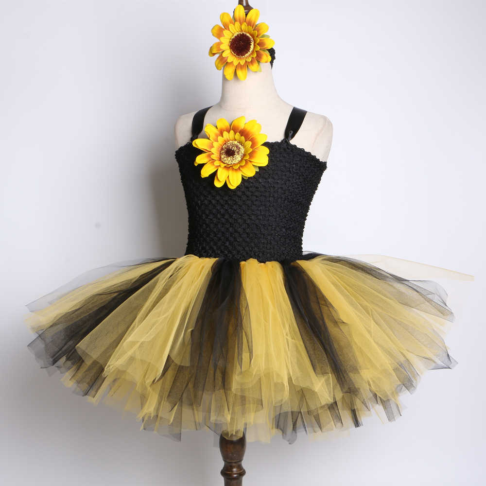 310ccefa4c8a8 SunFlower Flower Girls Tutu Dress Black Yellow Tulle Baby Girls Birthday  Party Dress Children Halloween Costume for Kids Girls