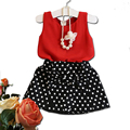 2-6Y Girls Clothes 2016 Casual Chiffon Vest+Polka Dot Skirt Set Girl Summer Clothes Suit Korean Kids Fashion Clothing C20