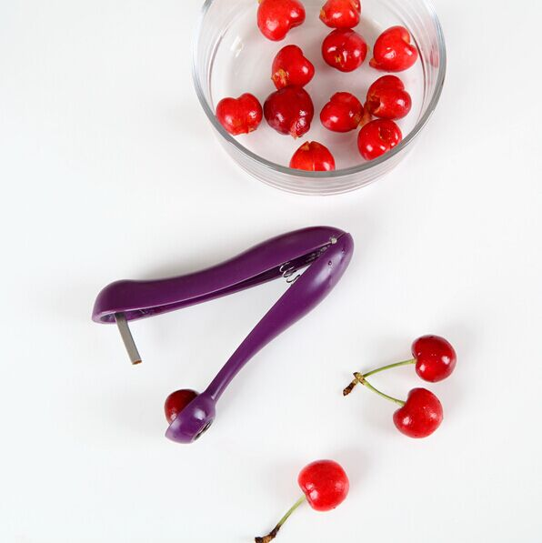 New Home Kitchen Supplies Purple Handheld Plastic Cherry Pitter Remover Creative Kitchen Fruits Vegetables Gadgets Tool Cutters