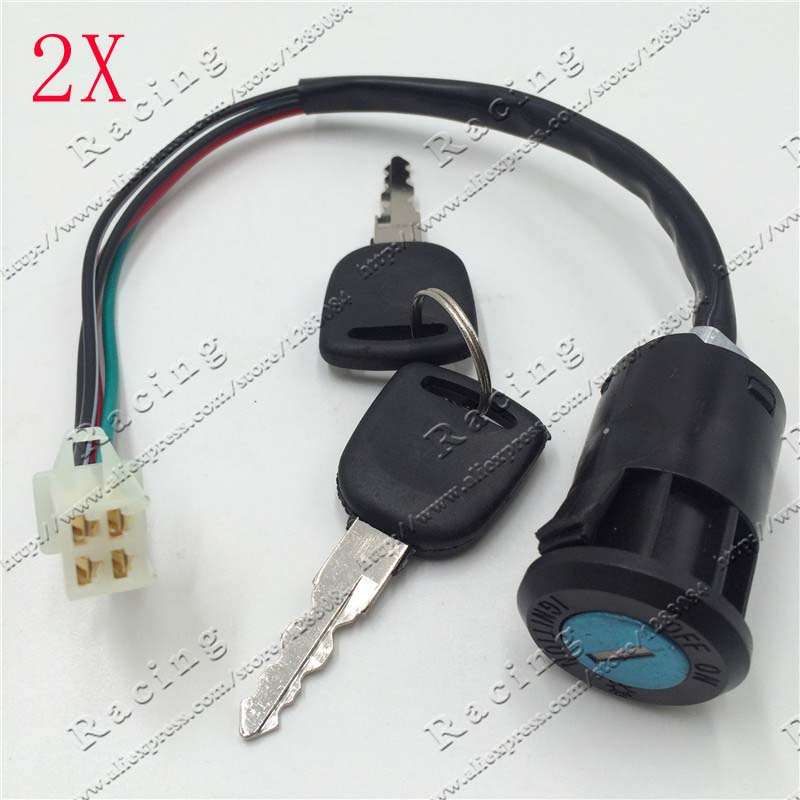 2PCSIgnition Key Switch Lock 4 Wires Dirt Pit Bike ATV Quad Go Kart Motard Motor Moped Buggy Scooters Motorcycle Motorbike Parts