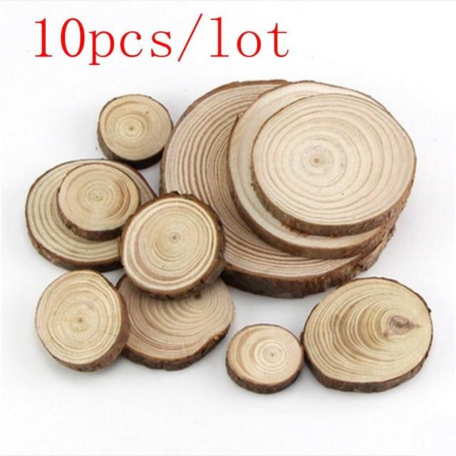10pcs  lot 4 5cm wood log slices discs diy crafts wedding