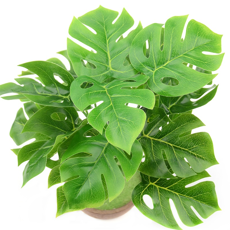 1 Bouquet/18 leaves Artificial Silk Palm Monstera Leaves Plant for Hawaii Luau Party Decorations Beach Wedding Table Decoration 2